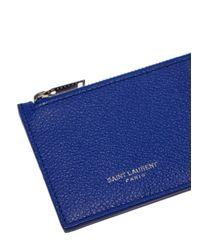Saint Laurent - Women's Leather Zipped Card Wallet In Blue - Lyst