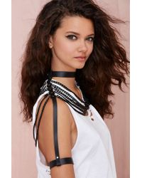 Nasty Gal Black Jakimac Rox Leather Body Chain