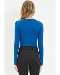 Forever 21 - Blue Cotton-blend Crop Top - Lyst