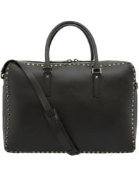 Valentino Black Studded Leather Briefcase for men