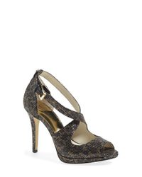 MICHAEL Michael Kors | Brown Georgia Platform Peep-Toe Pumps  | Lyst