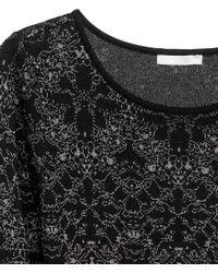 H&M - Black Fine-Knit Dress - Lyst