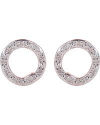 Monica Vinader | Pink Riva 18ct Rose-gold Vermeil Pavé Diamond Circle Stud Earrings | Lyst