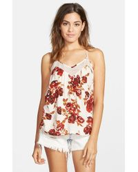 Volcom Red 'defiant One' Floral Print Tank