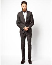 ASOS - Black Slim Fit Suit Jacket In Slub for Men - Lyst