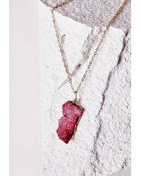 Missguided - Purple Semi-precious Stone Pendant Necklace Deep Pink - Lyst