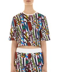 House of Holland - Multicolor Short Sleeve Cropped Tee - Lyst