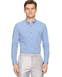 Calvin Klein - Blue Modern Fit Mini Gingham Check Sportshirt for Men - Lyst