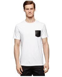 Calvin Klein White Faux-leather Pocket Slim-fit T-shirt for men