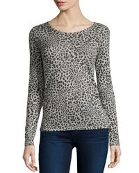 Neiman Marcus | Multicolor Long-sleeve Hand-dyed Leopard-print Top | Lyst