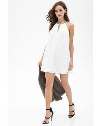 Forever 21 - White Rhinestone Collar Shift Dress - Lyst
