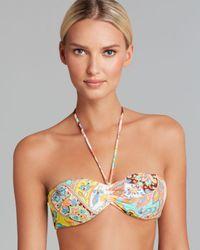 Shoshanna Green Bohemian Floral Halter Bikini Top