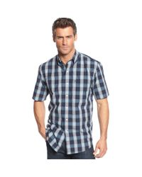 Izod | Blue Big and Tall Shortsleeve Plaid Shirt for Men | Lyst