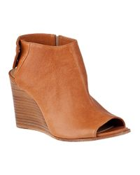 275 Central | Brown Open Toe Wedge Bootie Cuoio Leather | Lyst