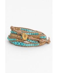 Chan Luu | Blue Beaded Leather Wrap Bracelet - Turquoise/ Beige | Lyst
