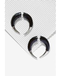 Nasty Gal Black Lock Horns Tunnel Earrings