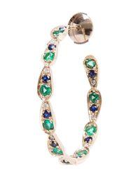 Sabine G | Metallic Diamond, Sapphire And Emerald Hoop Earrings | Lyst