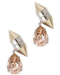 Givenchy - Metallic Gold Tone Crystal Drop Earrings - Lyst