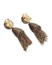 Oscar de la Renta - Metallic Classic Short Tassel Champagne Bead Earring - Lyst