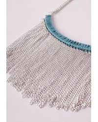 Missguided - Blue Waterfall Chain Bib Necklace Silver - Lyst