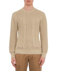 Inis Meáin - Natural Aran-Knit Crew-Neck Sweater for Men - Lyst