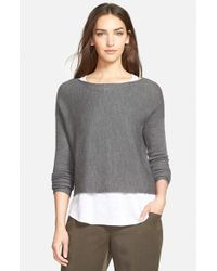 Eileen Fisher | Gray Fine Rib Merino Knit Boxy Top | Lyst