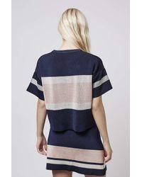 TOPSHOP - Blue Modern Stripe Tee - Lyst