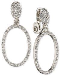 Anne Klein   Metallic Silver-tone Pavé Gypsy Hoop Clip-on Earrings   Lyst
