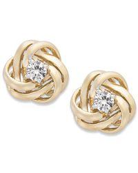 Wrapped in Love | Metallic ™ Diamond Knot Stud Earrings In 14k Gold (1/3 Ct. T.w.) | Lyst