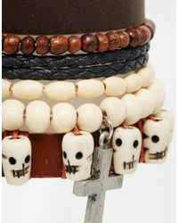 ASOS - Leather Bracelet Pack With Skulls In Brown for Men - Lyst