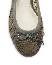 Anne Klein | Gray Palena Suede Cut Out Flats | Lyst