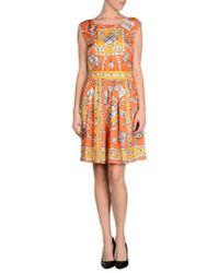 Boutique Moschino - Orange Short Dress - Lyst