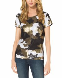 Michael Kors - Metallic Camouflaged Sequin T-Shirt - Lyst