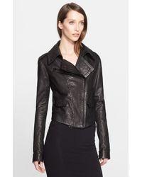 Donna Karan - Black Leather Moto Jacket - Lyst
