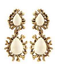 Oscar de la Renta - White Ivory Branch Cabochon Clip Earrings - Lyst