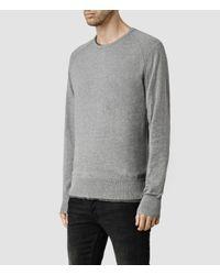 AllSaints | Gray Mode Merino Polo Cardigan for Men | Lyst
