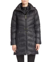 Ellen Tracy | Black Packable Puffer Coat | Lyst