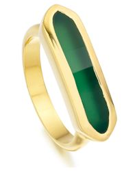 Monica Vinader Metallic Gold Vermeil Green Onyx Baja Ring