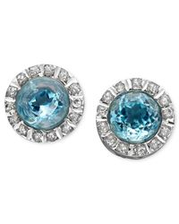 Macy's | 14K White Gold Earrings, Blue Topaz (6 Ct. T.W.) And Diamond Accent Stud Earrings | Lyst