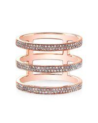 Anne Sisteron - Pink 14kt Rose Gold Diamond Triple Bar Ring - Lyst