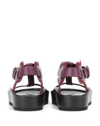 Balenciaga - Purple T-Bar Leather Sandals - Lyst