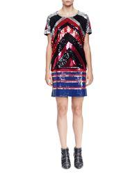 Lanvin - Multicolor Allover Striped Sequined Mini Skirt - Lyst
