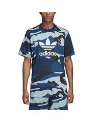 Adidas Originals Blue Camo Trefoil Short Sleeve T-shirt for men