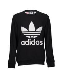 Adidas Originals Black Adicolor Trefoil Crew for men
