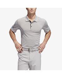 Adidas Gray Performance Stripe Golf Polo Shirt for men