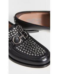 Ferragamo Black Rolo Studded Loafers for men