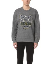 KENZO - Gray Tiger Crew Sweater for Men - Lyst