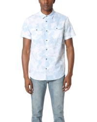 Calvin Klein Jeans | Blue Floral Shadow Print Short Sleeve Shirt for Men | Lyst