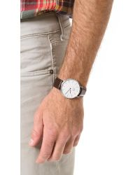Daniel Wellington Metallic Bristol 40mm Watch With Brown Leather Band for men