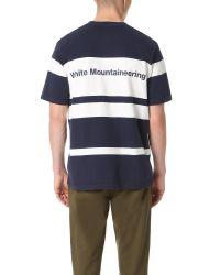 White Mountaineering Blue Multi Border Pocket Tee for men